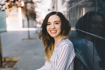 Brunette portrait outdoors