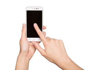 Woman holding smartphone in her hands. Finger touching black dis
