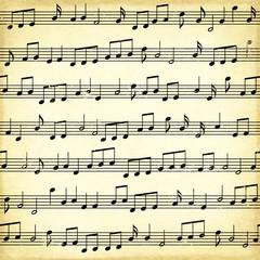 Grunge background with note symbols
