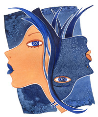 Gemini-girl, Face girl as astrology symbol Gemini on a pattern  background