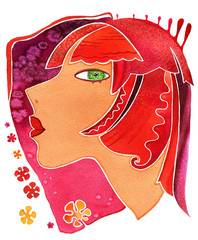 Virgo-girl, Face girl as astrology symbol Virgo on a pattern  background