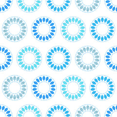 Abstract circle vector background, blue seamless pattern