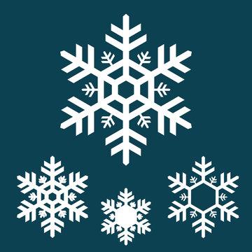 white snowflake icons on blue background