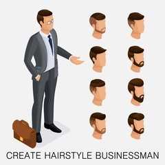 Trendy isometric set 9, qualitative study, a set of men's hairstyles, hipster style. Fashion Styling, beard, mustache. The style of today's young businessman. Vector illustration