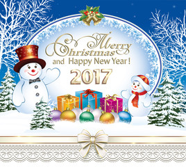 Merry Christmas and Happy New Year 2017. Snowman with gifts on winter landscape