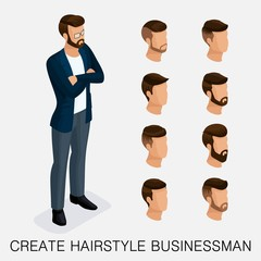 Trendy isometric set 10, qualitative study, a set of men's hairstyles, hipster style. Fashion Styling, beard, mustache. The style of today's young businessman. Vector illustration