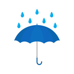 Blue umbrella with raindrop vector