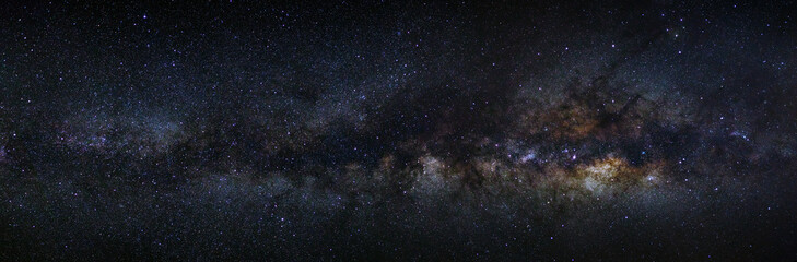 panorama milky way galaxy on a night sky, long exposure photogra