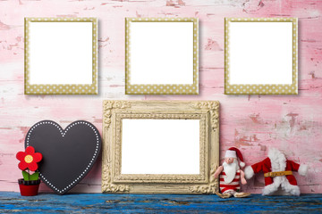 Christmas vintage Santa photo frames card