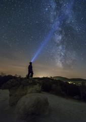 Mushroom rocks phenomenon under the night sky