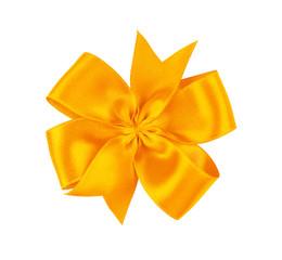 Festive ribbon bow on white background