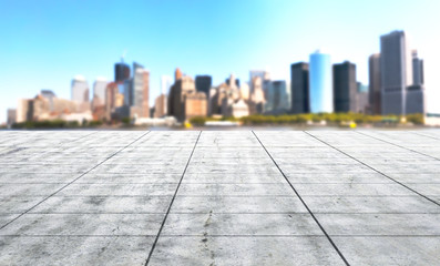 modern square with skyline and cityscape background. 3d illustra