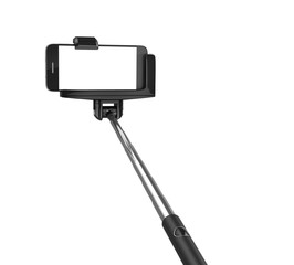 an extendable selfie stick with an adjustable clamp on the end h