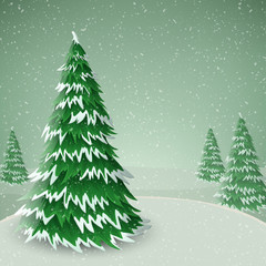 Pine tree covered with snow, standing in snowfall. Illustration for Christmas and winter holiday