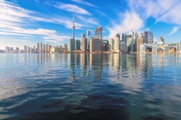 The beautiful Toronto's skyline over Lake Ontario at sunny day