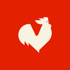 Silhouette of crowing rooster. Modern flat vector logo template or icon