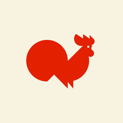 Silhouette of cute rooster. Modern flat vector logo template or icon