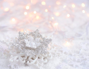 Icy background with Snowflake and Christmas lights, perfect for Christmas and winter