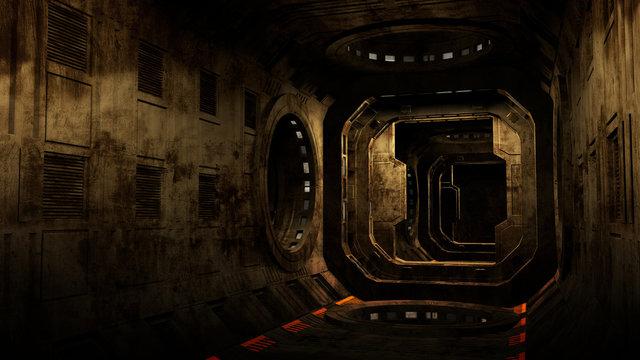Abandoned Spaceship Interior.