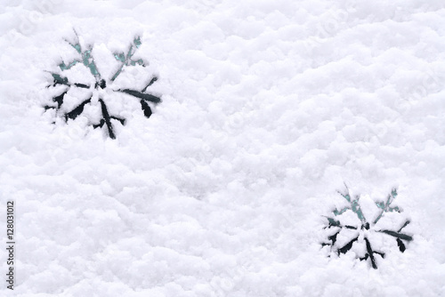 Snow Background Texture Of Wet Snow With Drawing Snowflakes Symbol