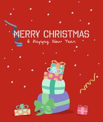 Merry Christmas greeting card.gift box