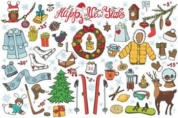 New year season doodle icons,symbols.Colored kit