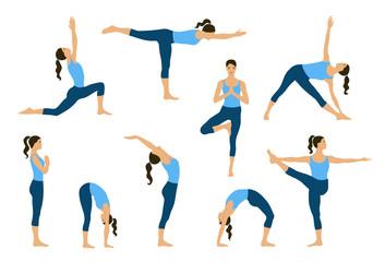 Set of yoga poses. Young women do yoga exercises. Yogi in yoga asana. Vector yoga illustration. Healthy lifestyle with yoga poses. Isolated yoga girls silhouettes.