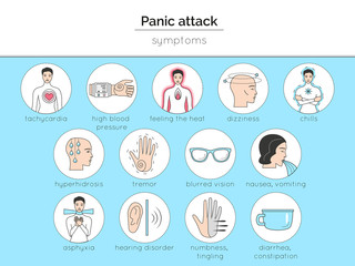 Set of icons about panic attack symptoms. Isolated pictures for illustrating medical article, internet site, poster about panic attack.