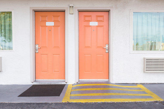 room entrance with ramp for disabled person wheelchair