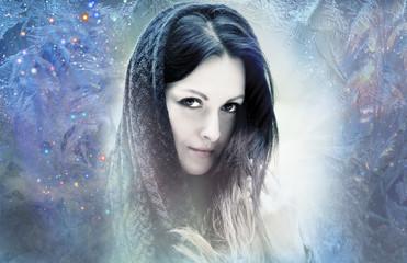 Woman in ice, frozen