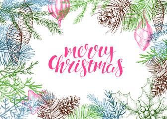 Christmas vector greeting card.