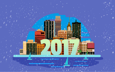 Happy New Year in town. Vector greeting card design element.