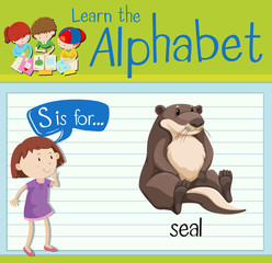 Flashcard letter S is for seal