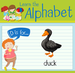 Flashcard letter D is for duck