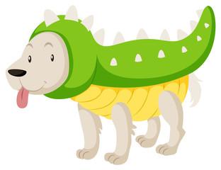 Little dog wearing dinosaur costume