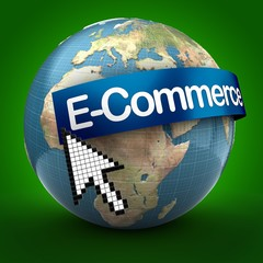 3d illustration of Earth over green background  with e-commerce text on blue banner