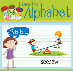 Flashcard letter S is for seesaw