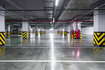Empty underground parking garage