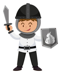 Kid in knight costume with weapons