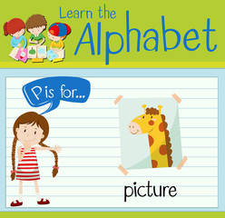 Flashcard letter P is for picture