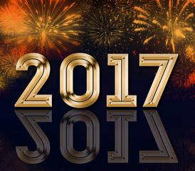 2017 year celebration with fireworks