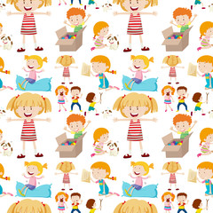 Seamless background design with kids playing