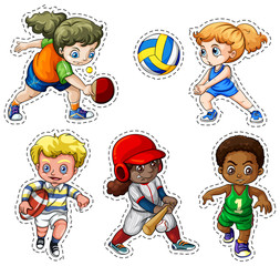 Kids playing different types of sports