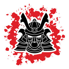 Samurai mask designed on splatter blood background graphic vector.