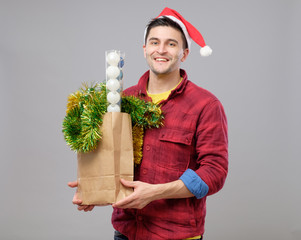 Hipster boy in christmas hat