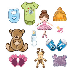 Baby clothing, toys and shoes vector set