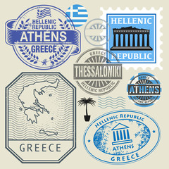 Travel stamps or symbols set, Greece theme
