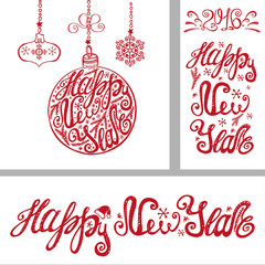 New year cards.Lettering typography elements