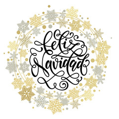 Merry Christmas in Spanish Feliz Navidad text for greeting card