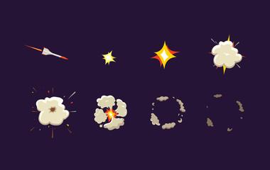 Explode effect animation with smoke. Rocket strike. Cartoon explosion frames. Vector cartoon illustration.